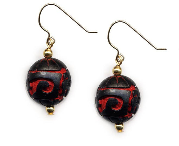 Cinnabar Floral Bead Earrings