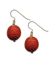 Cinnabar Longevity Ball Hook Earrings