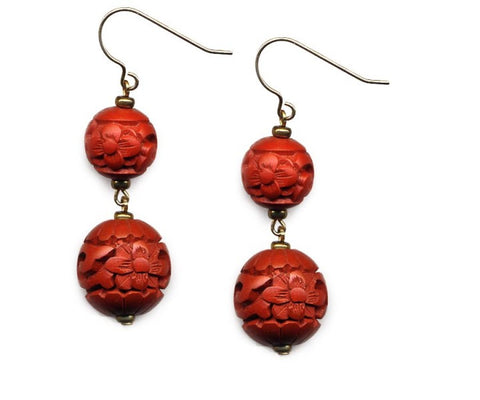 Cinnabar Dual Floral Bead Hook Earrings