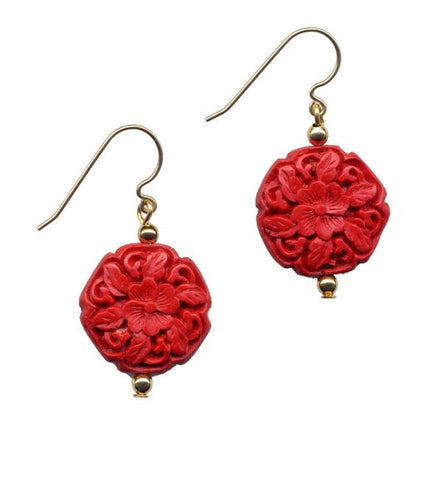 Cinnabar Floral Hexagon Hook Earrings