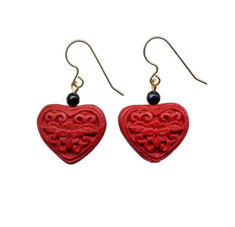 Cinnabar Floral Heart Onyx Hook Earrings