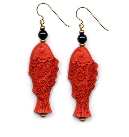 Cinnabar Fish Onyx Hook Earrings