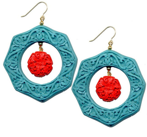 Cinnabar Floating Floral Hook Earrings