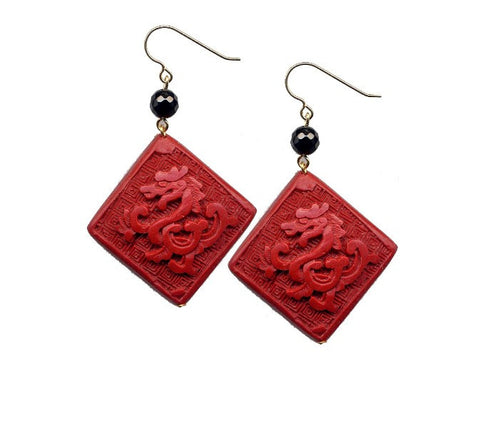 Cinnabar Diamond Dragon Onyx Hook Earrings