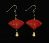 Cinnabar Fan Onyx Hook Earrings