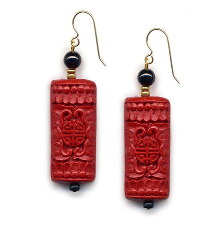 Cinnabar Tablet Onyx Hook Earrings