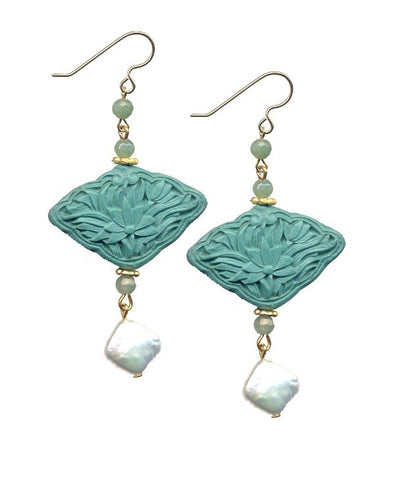 Tuquoise Cinnabar Floral Aventurine Hook Earrings