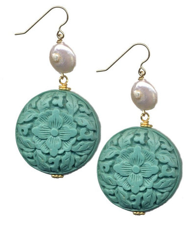 Cinnabar Floral Disc Hook Earrings
