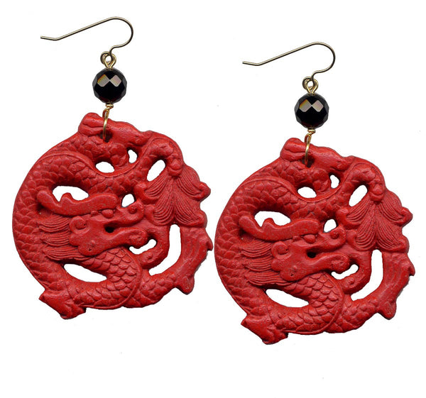 Cinnabar Dragon Onyx Hook Earrings