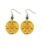 Longevity Yellow Jade Coin Earrings