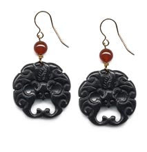 Black Bat Onyx Earrings
