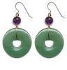 Green Aventurine Pi Disc Earrings