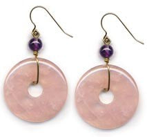 Rose Quartz Pi Disc Earrings