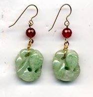 Jade Fish w/ Carnelian Earrings