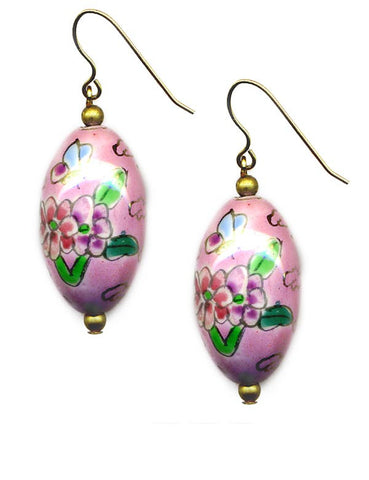 Porcelain Oval Floral Bead Earrings