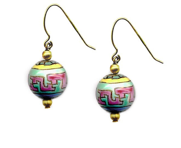 Porcelain Multi Colored Bead Earrings