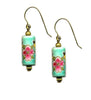 Porcelain Turquoise Floral Tube Earrings