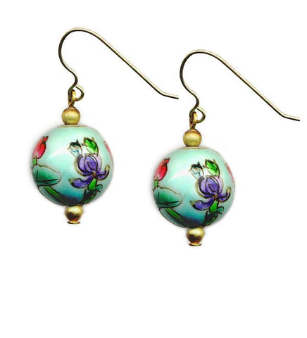 Porcelain Turquoise Floral Bead Earrings