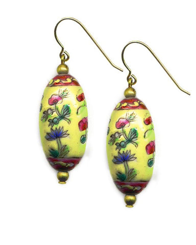 Porcelain Yellow Oval Floral Earrings