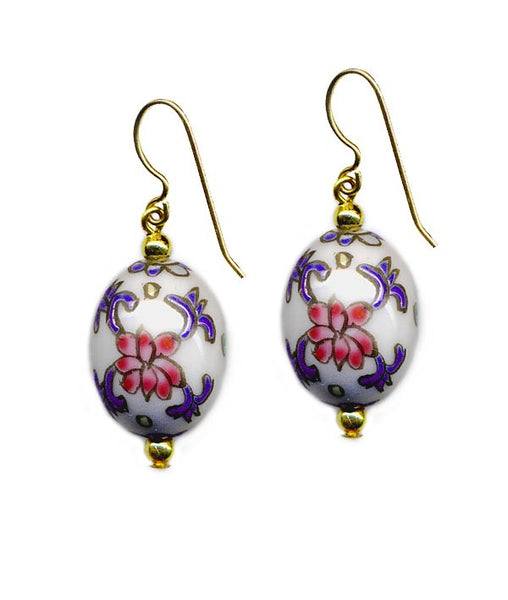 Porcelain R/W/B Oval Floral Earrings