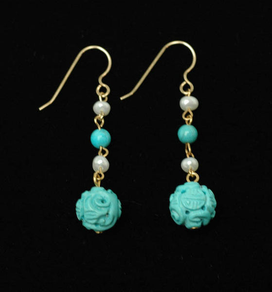 Turquoise Ball Pearl Earrings
