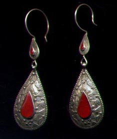 Afghan Silver Tear Drop Carnelian Earrings