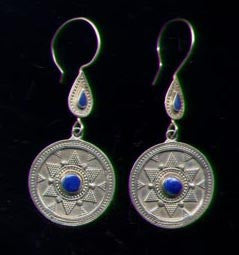 Afghan Silver Round Lapis Earrings