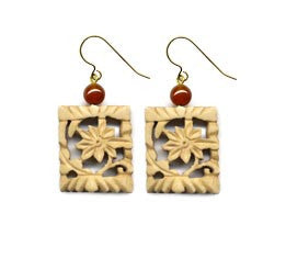 Flower Bone Carnelian Earrings