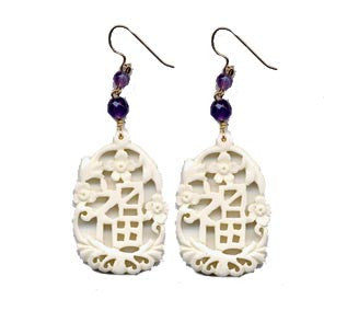 Fu' Prosperity Bone Amethyst Earrings