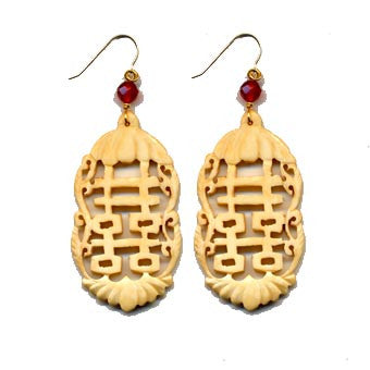 Double Happiness Cut-Out Bone Carnelian Earrings