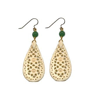Tear Drop Moghal Bone Aventurine Earrings