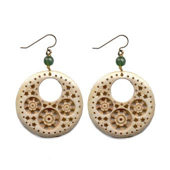 Circular Cut-Out Moghal Bone Aventurine Earrings