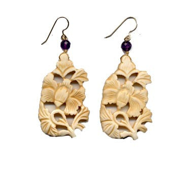 Peony Flower Bone Amethyst Earrings