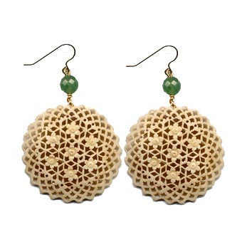 Circular Moghal Bone Aventurine Earrings