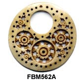 Moghal Disc Floral Holed Bone Pendant Bead FBM562