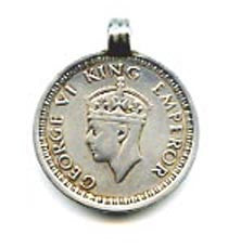 King George VI One Rupee Silver Coin Pendant FST960