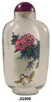 Robins and Peonies Decorative Bottle