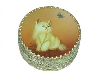 "3"" Silver Plated Round Box with Reverse Painted Glass Top - Cat and Butterfly"