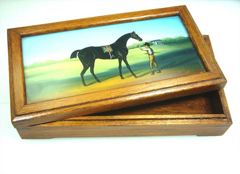 Horse Painted Glass Wooden box