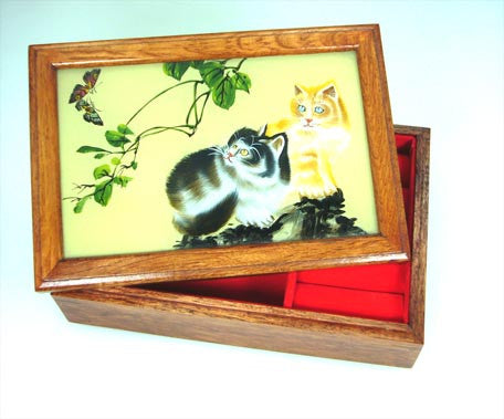 Cat Painted Glass Wooden box