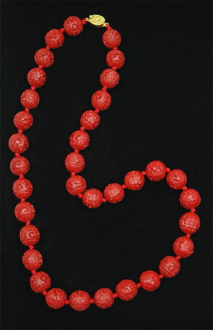 Red Cinnabar Round Floral Necklace