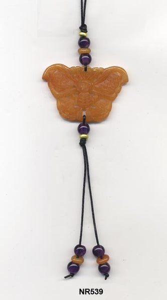 Red aventurine butterfly pendant