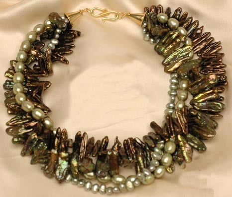 Green Pearl Multi Strand Necklace