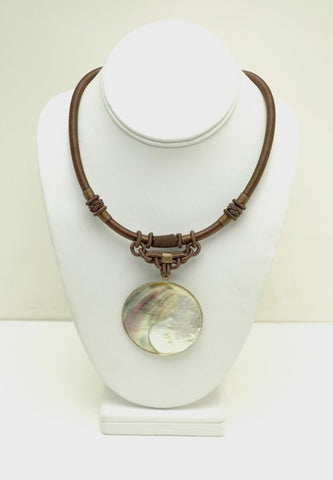 Mother of Pearl Yin Yang Silk Macrame Choker