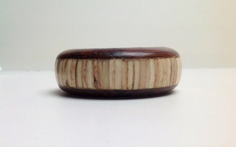 Wood and Ivory Colored Bone Bangle