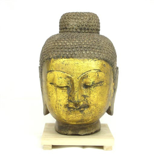 Gold Face Stone Buddha Head