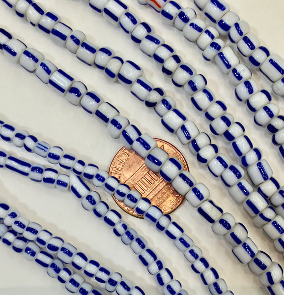 Vintage White with Blue Stripes Small Ghana Glass Beads 5mm, 4mm