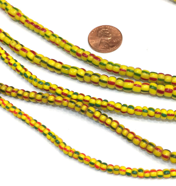 Vintage Yellow with Red & Green Stripes Small Ghana Glass Beads BA-A67