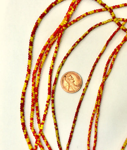 Vintage Orange and Yellow Small Ghana Glass Beads BA-A3ERY
