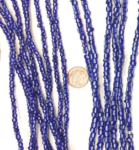 Vintage Electric Blue and White Striped Small Ghana Glass Beads 5mm, 4mm